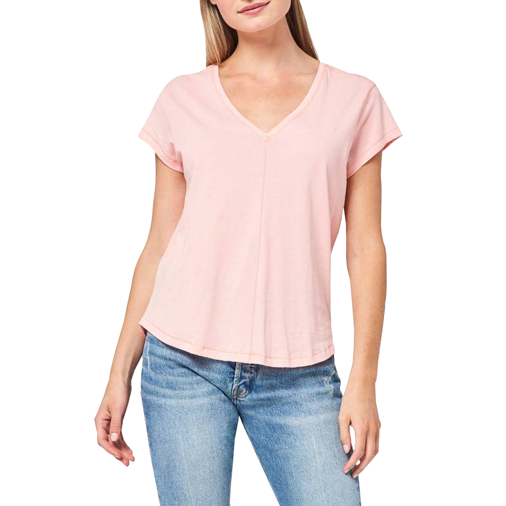 Lilla P Short Sleeve V-Neck Top in Coral