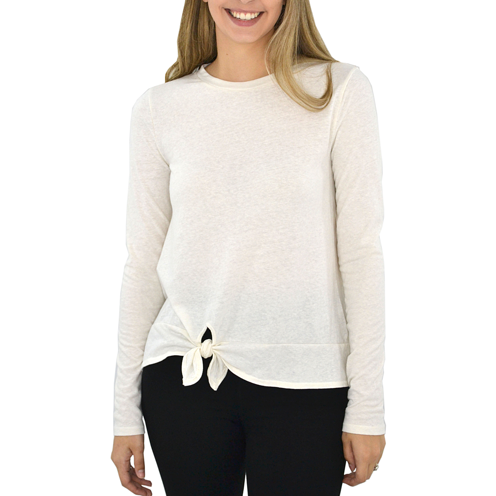 Poche 1913 Mia Long Sleeve Knit Top in Cream