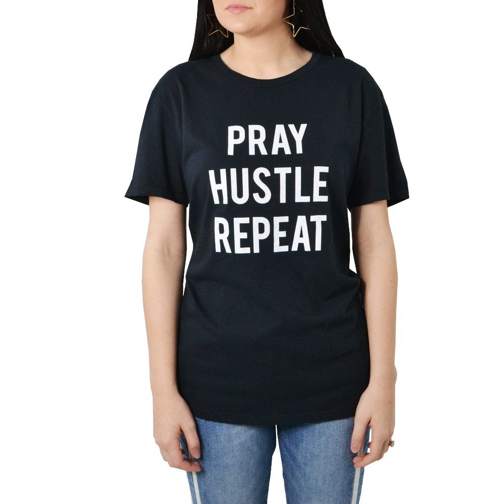 Womens The Light Blonde Pray Hustle Repeat Tee in Black - Brother's on the Boulevard
