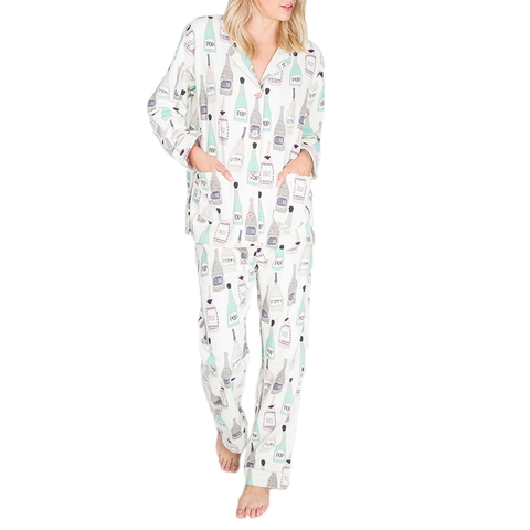 Womens P.J. Salvage Sip Sip Hooray PJ Set in Natural - Brother's on the Boulevard