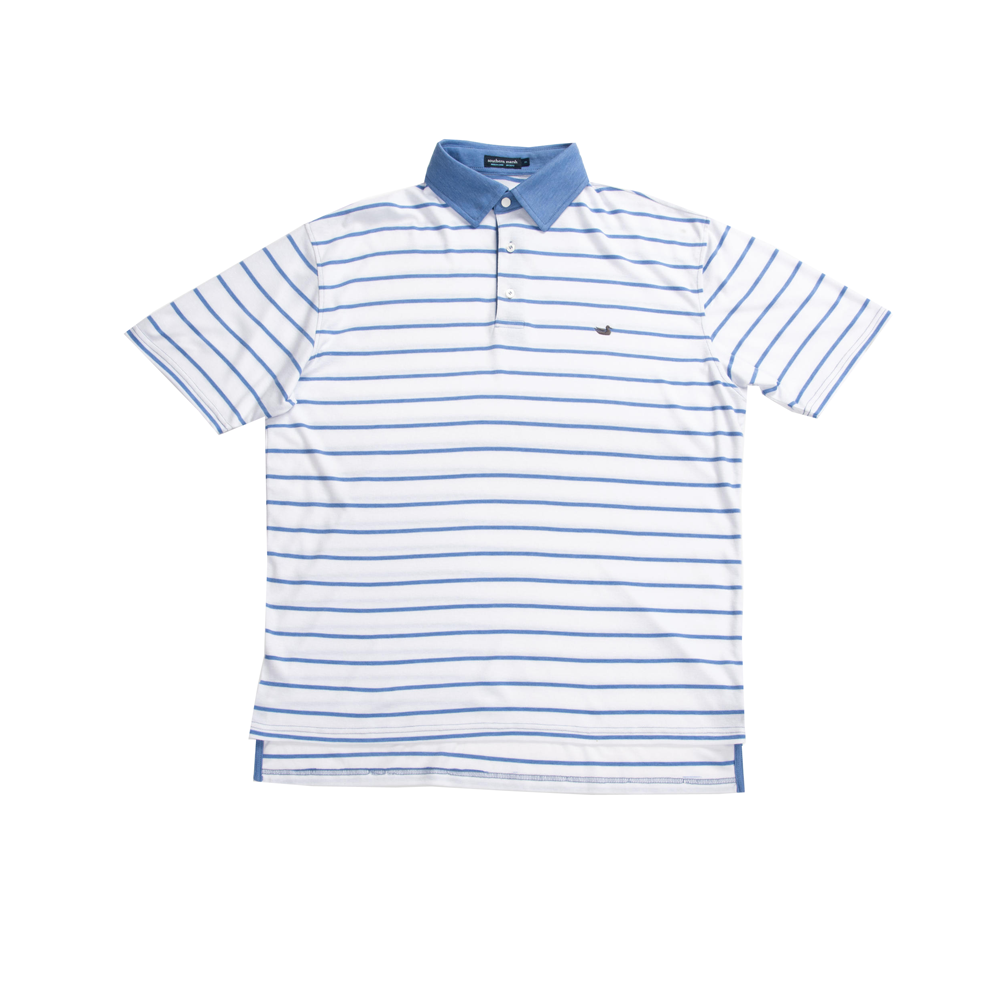 Mens Southern Marsh Marina Bay Stripe Polo in French Blue - Brother's on the Boulevard