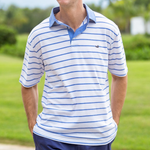 Southern Marsh Marina Bay Stripe Polo in French Blue