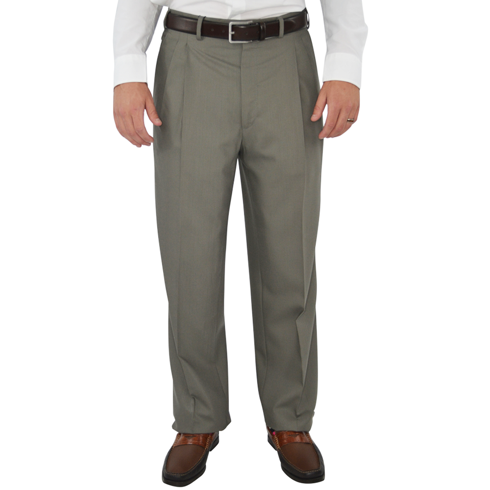 Chiari Un-Hemmed Pleated Dress Pant in Taupe