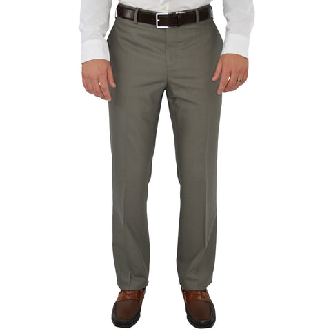 Chiari Un-Hemmed Flat Front Dress Pant in Dark Taupe