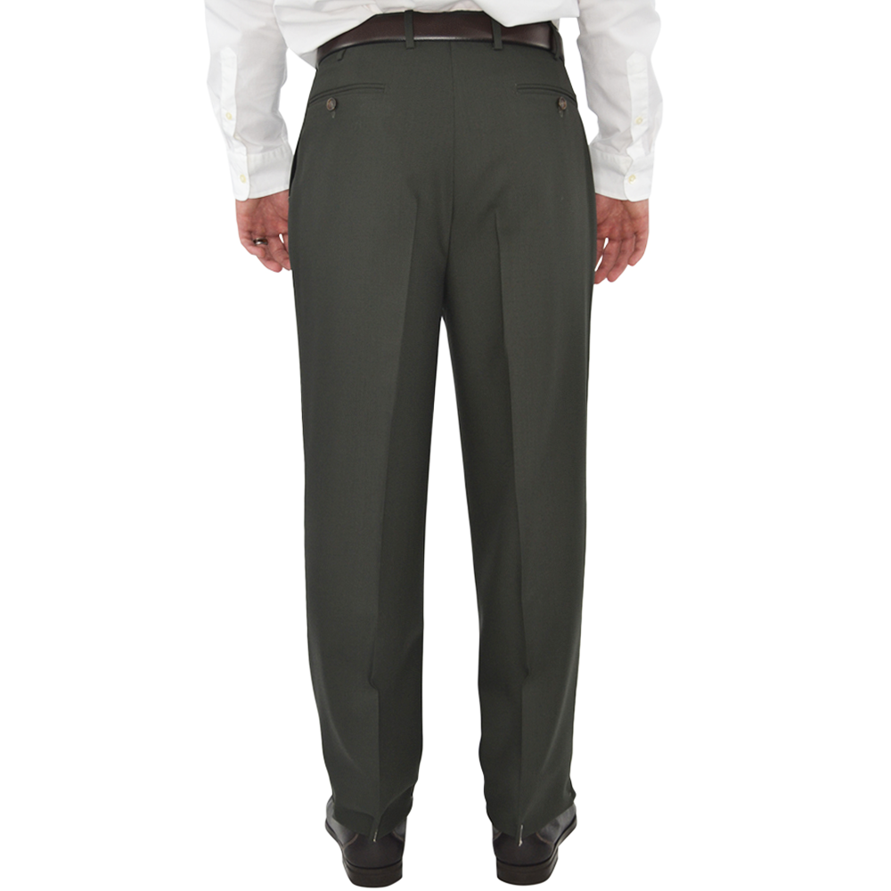 Mens Chiari Un-Hemmed Pleated Dress Pant in Olive - Brother's on the Boulevard