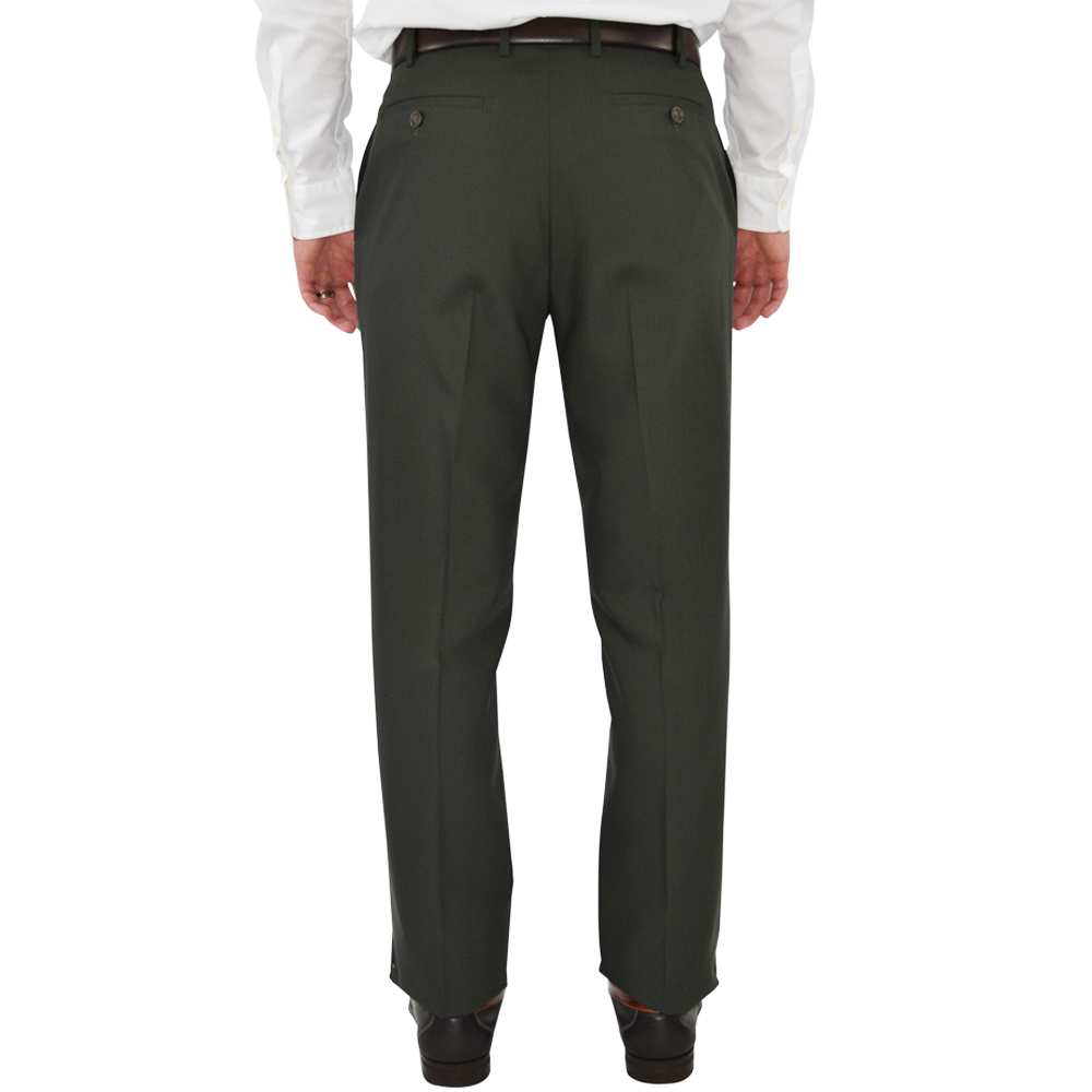 Mens Chiari Un-Hemmed Flat Front Dress Pant in Olive - Brother's on the Boulevard