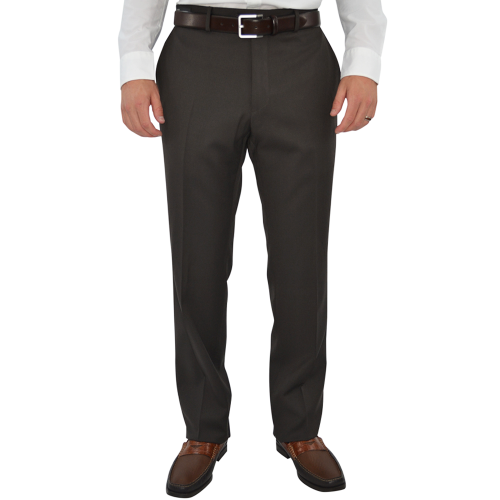 Mens G. Manzoni Un-Hemmed Flat Front Dress Pant in Chocolate - Brother's on the Boulevard
