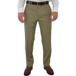 G. Manzoni Un-Hemmed Flat Front Dress Pant in Taupe