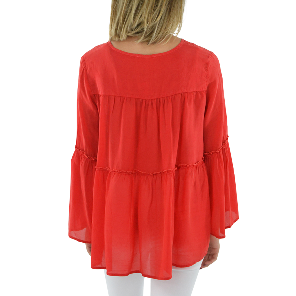 Womens NYLA Peasant Top in Red - Brother's on the Boulevard