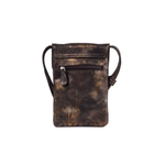 Womens Cofi Leather Penny Phone Bag in Black Gold Metallic - Brother's on the Boulevard