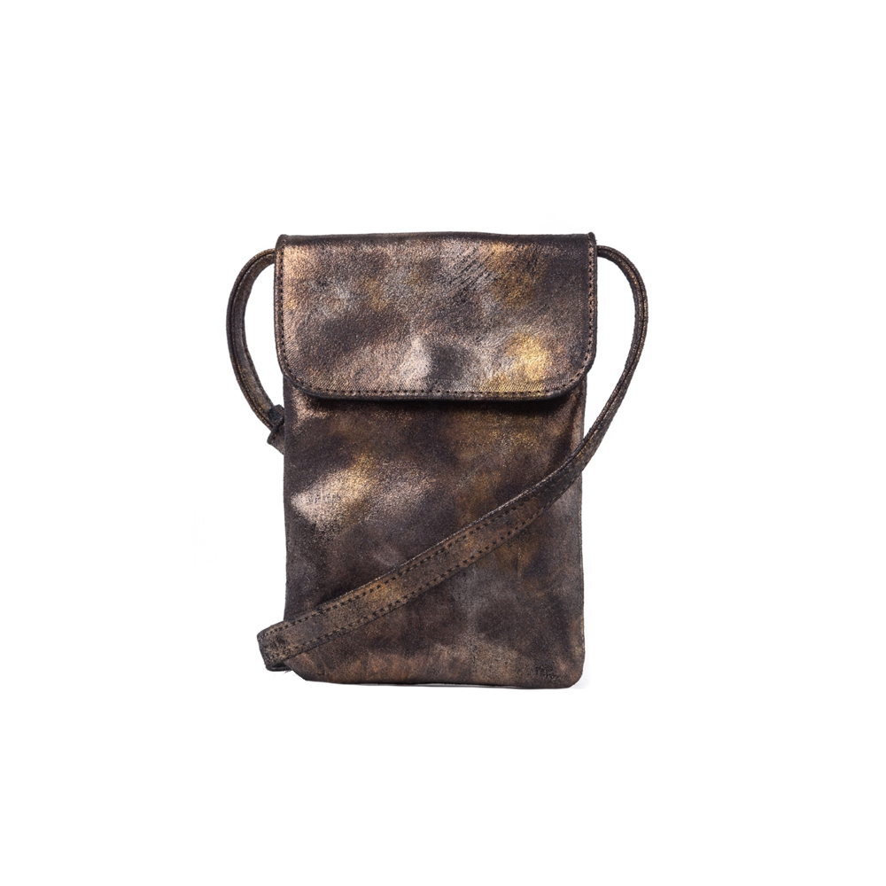 Cofi Leather Penny Phone Bag in Black Gold Metallic