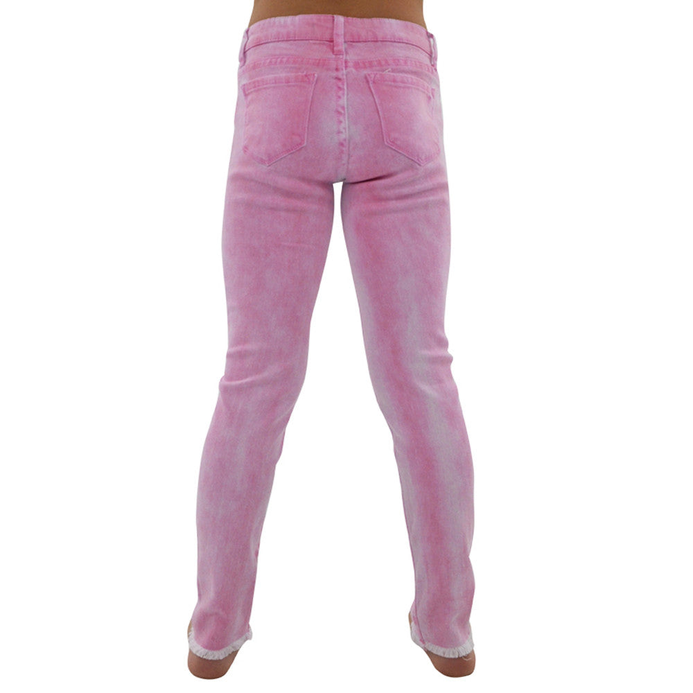 Tween Girls Tractr Girls 5 Pocket Ankle Crop Fray Jeans in Fuchsia - Brother's on the Boulevard