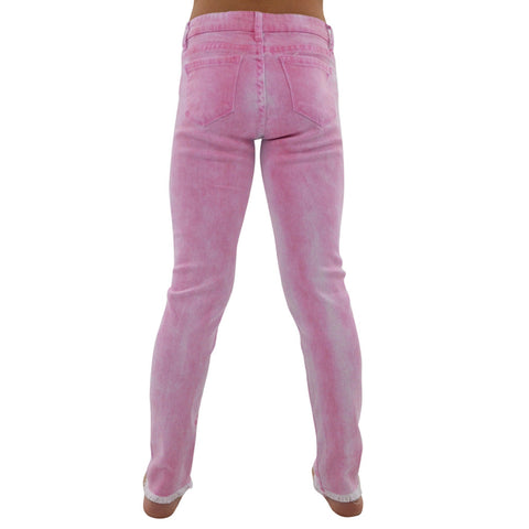 Tractr 5 Pocket Ankle Crop Fray Jeans in Fuchsia