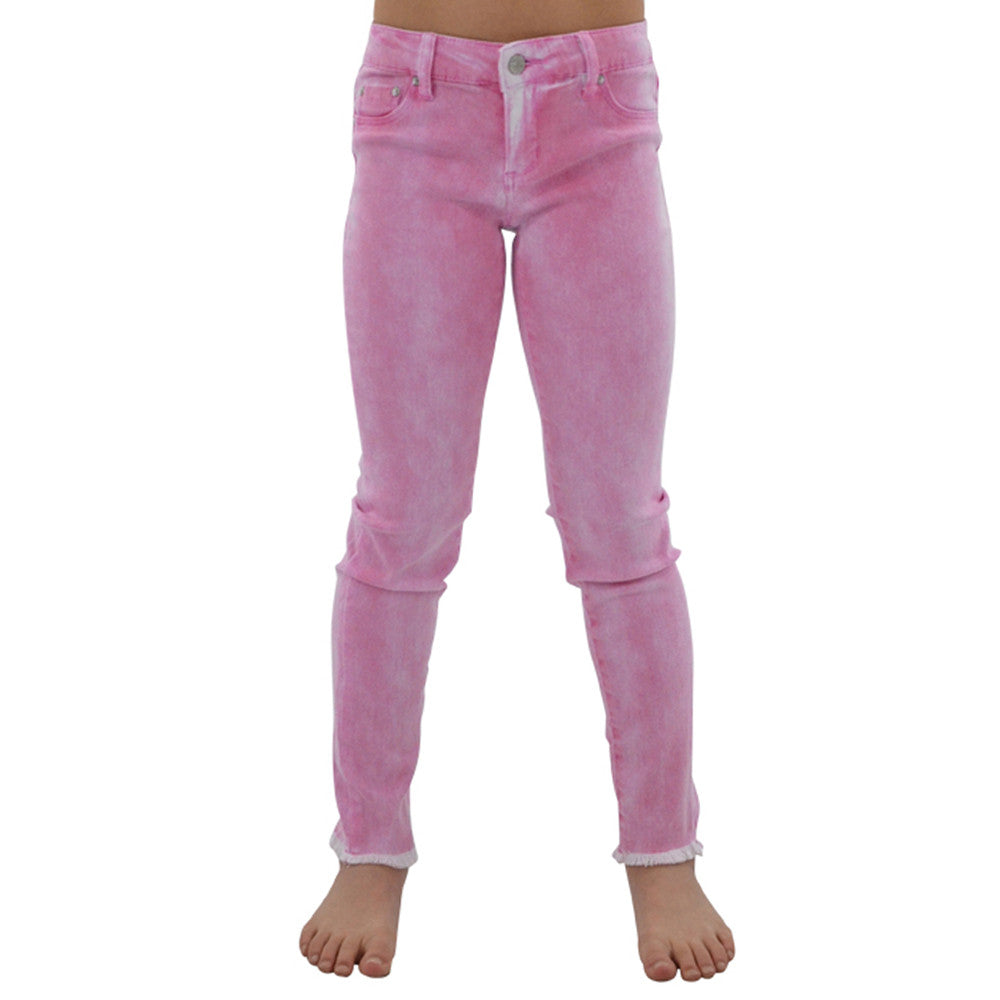 Tractr Girls 5 Pocket Ankle Crop Fray Jeans in Fuchsia