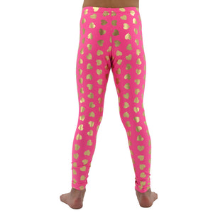 Tween Girls Weekend Vibes Girls Heart Leggings in Hot Pink - Brother's on the Boulevard