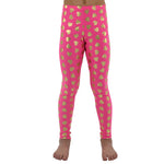 Weekend Vibes Girls Heart Leggings in Hot Pink