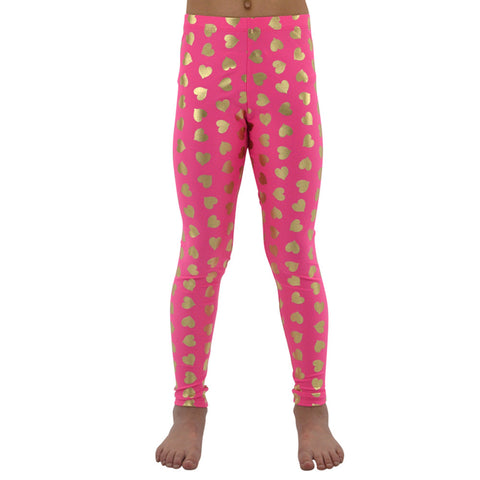 Weekend Vibes Heart Leggings in Hot Pink