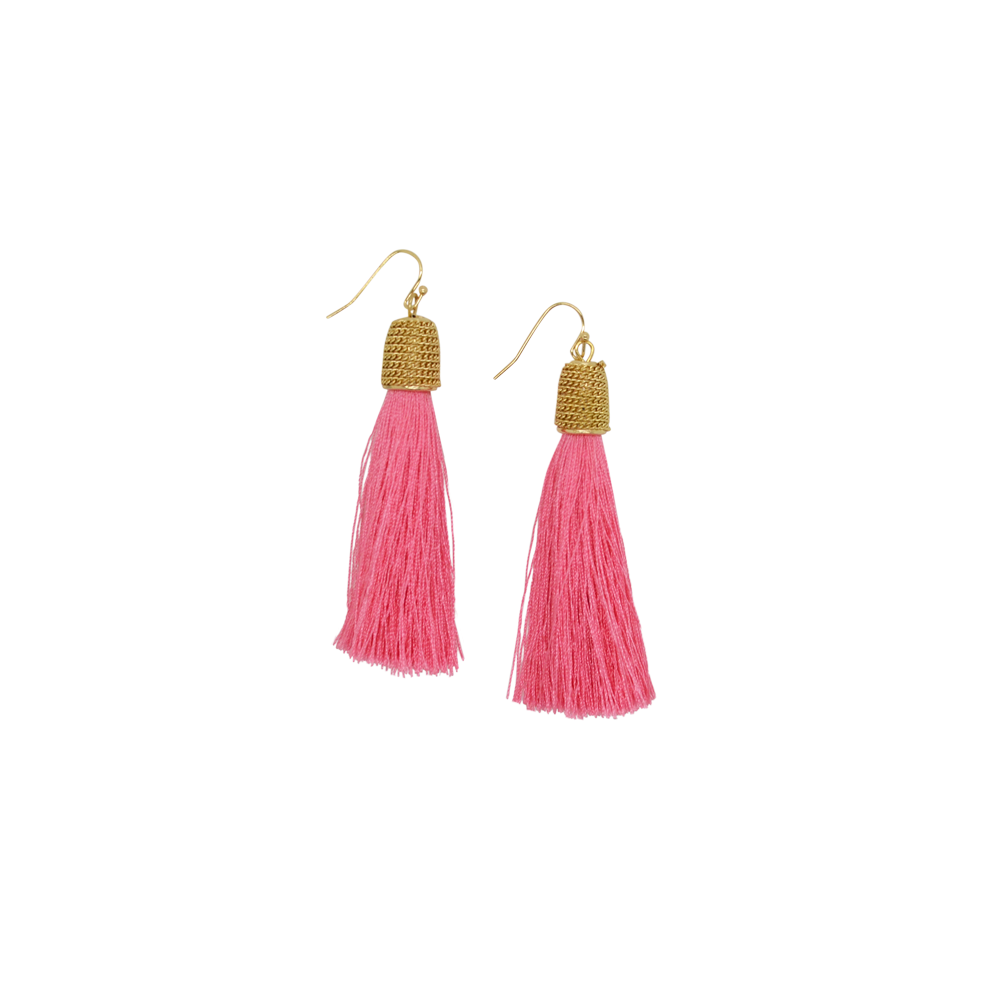 Womens Rouge Small Tassel Drop Earring in Pink - Brother's on the Boulevard