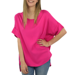 NYLA Draped Rolled Sleeve Karen Top In Pink