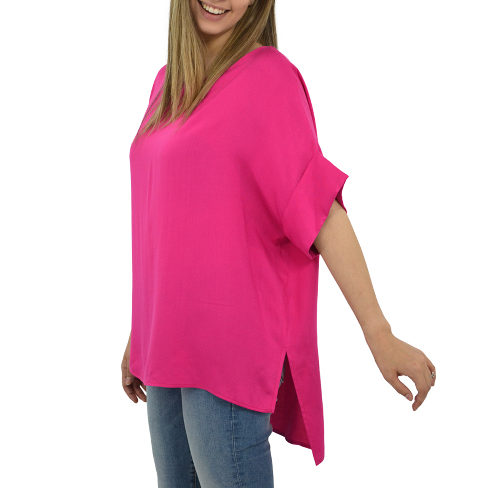 Womens NYLA Draped Rolled Sleeve Karen Top In Pink - Brother's on the Boulevard