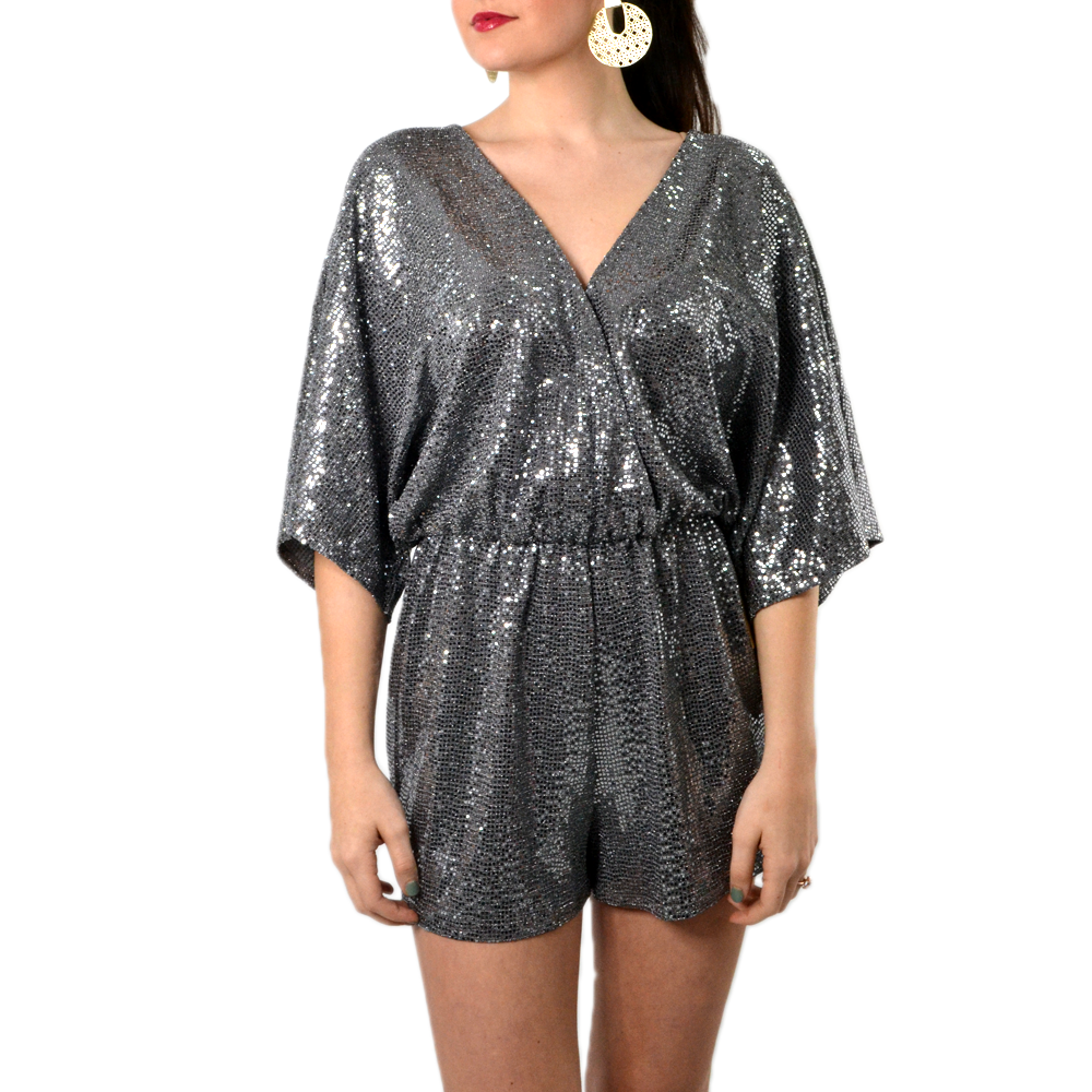 Womens Rouge Sparkle Dolman Romper in Silver - Brother's on the Boulevard