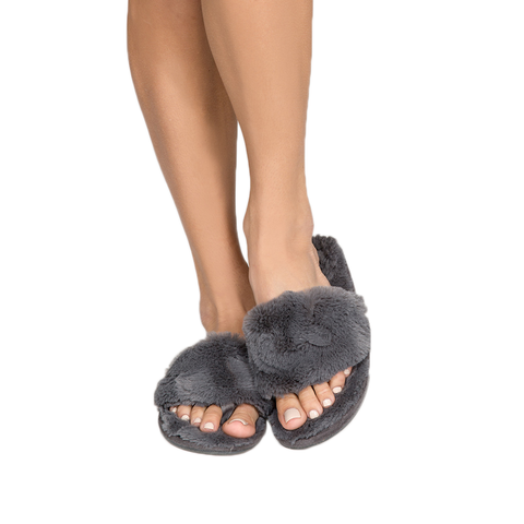 Womens P.J. Salvage Fur Sliders in Grey - Brother's on the Boulevard