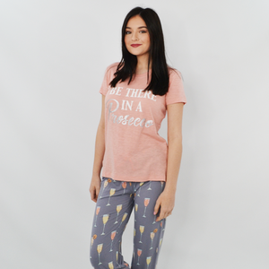 "Womens PJ Salvage ""Be There in a Prosecco"" Tee in Rose - Brother's on the Boulevard"