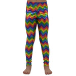 Weekend Vibes Girls Rainbow Zig Zag Leggings in Multi