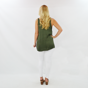 Womens Fifteen Twenty Side Slit Tank in Olive - Brother's on the Boulevard