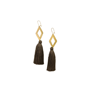 Womens Luxe by Virtue Rhombus Tassel Drop Earring in Taupe - Brother's on the Boulevard