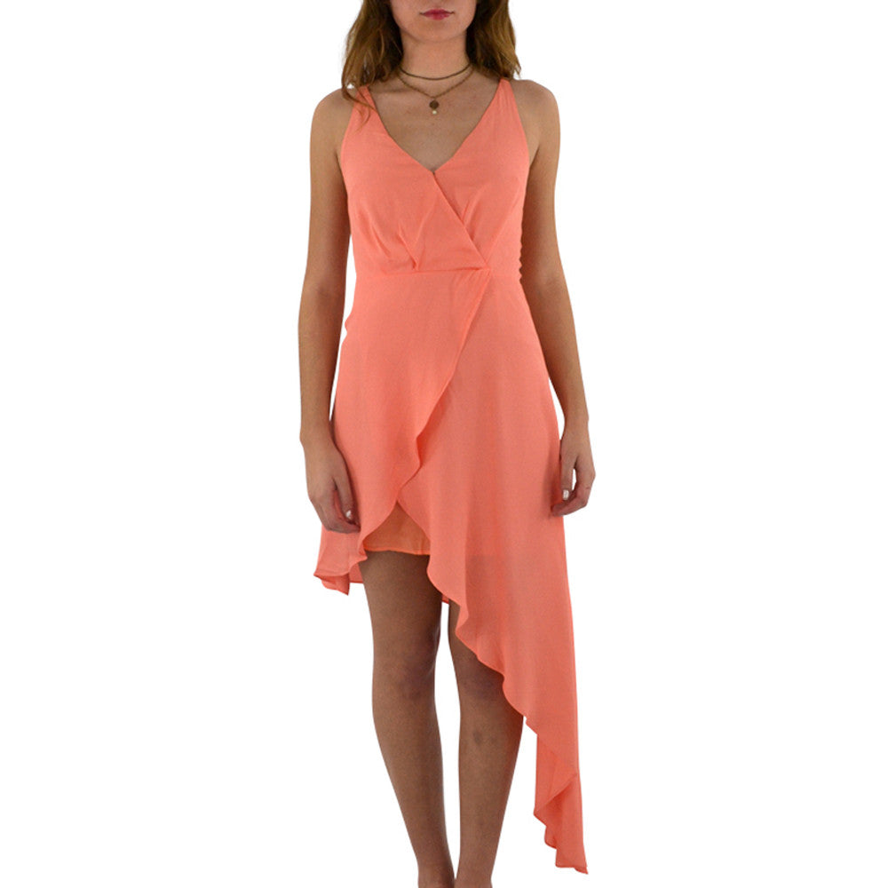 Shilla Romance Grecian Dress in Coral
