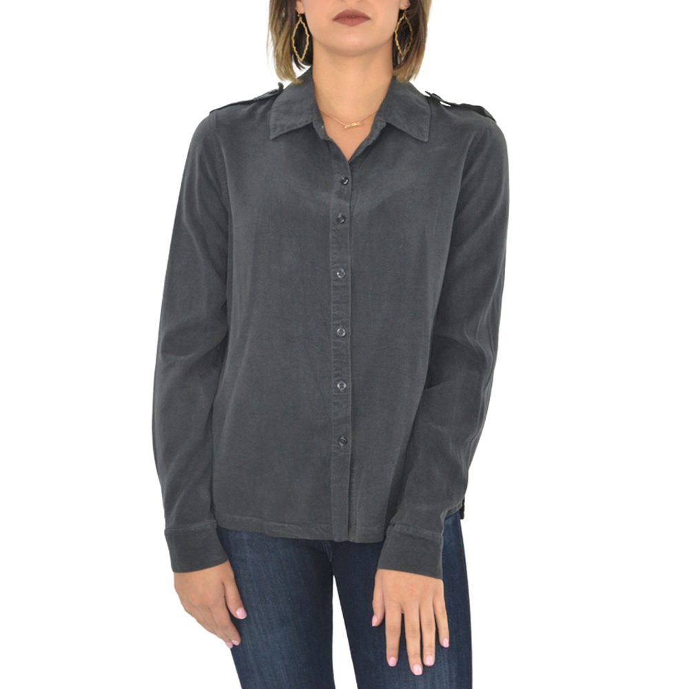 Womens Maven West Ruffle Back Button Down Shirt In Stone - Brother's on the Boulevard