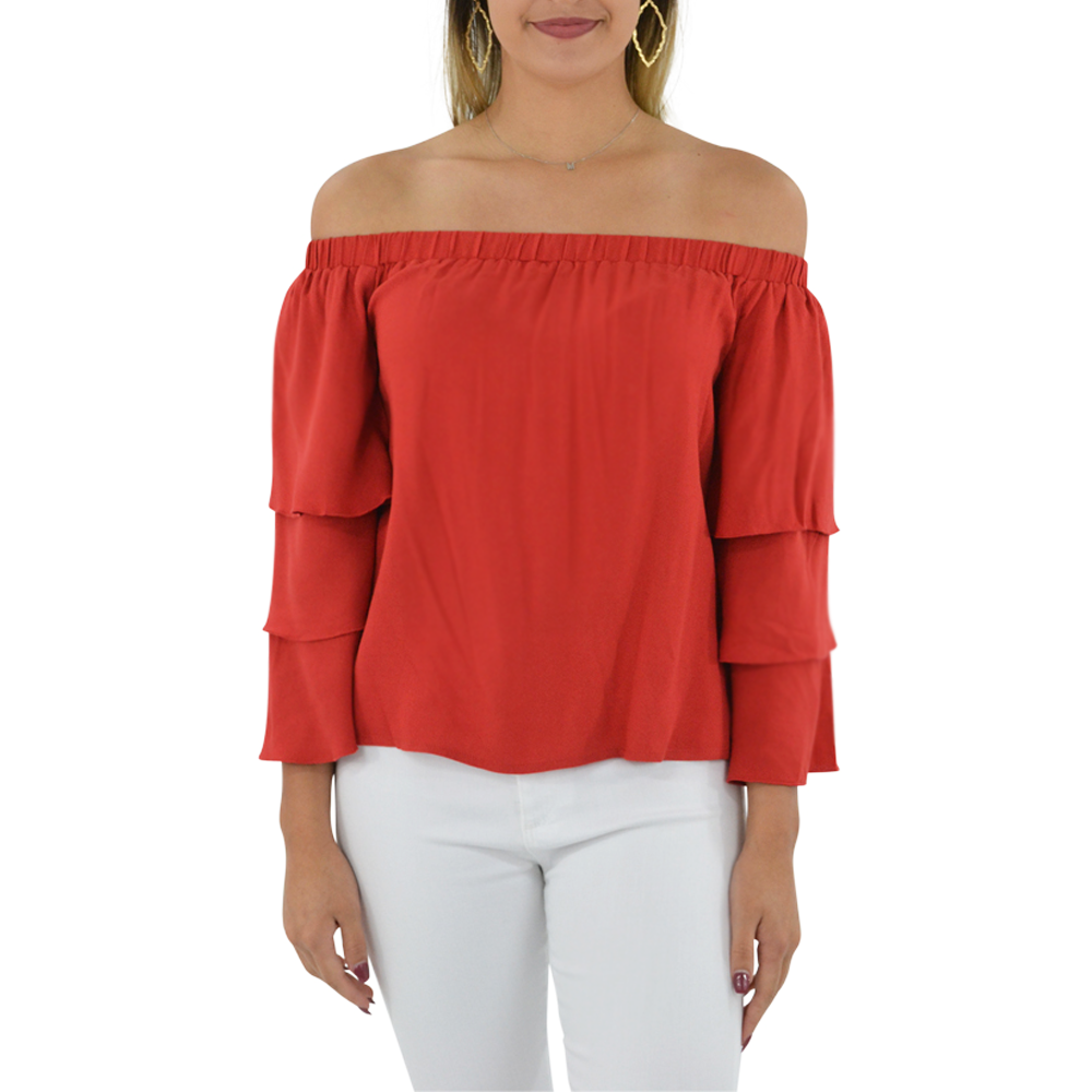Ella Moss Stella Off the Shoulder Top in Flame