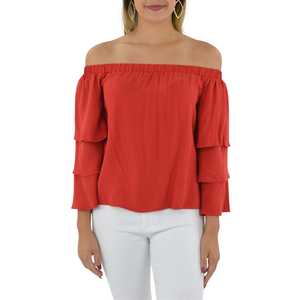 Womens Ella Moss Stella Off the Shoulder Top in Flame - Brother's on the Boulevard