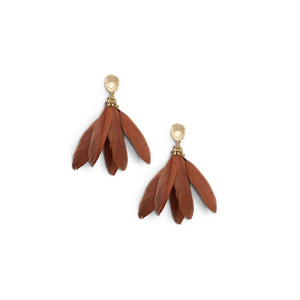 Womens Ever Alice Studio Feather Statement Earrings in Rust - Brother's on the Boulevard