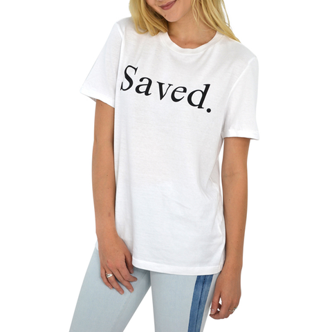 The Light Blonde Saved Tee in White