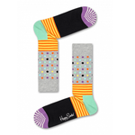 Mens Happy Socks Stripes and Dots Print in Light Grey - Brother's on the Boulevard