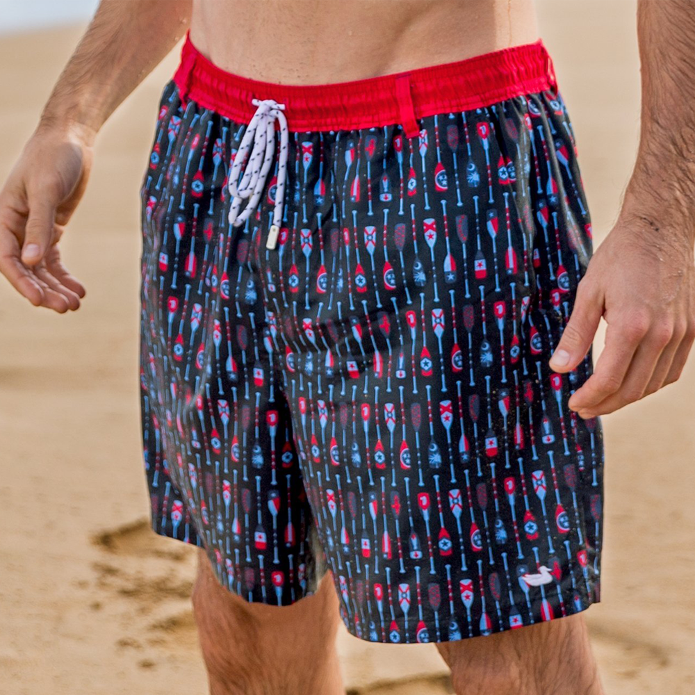 Southern Marsh Paddles Dockside Swim Trunk in Navy and Red