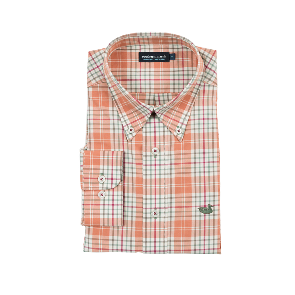 Mens Southern Marsh Dobbs Check Dress Shirt in Burnt Orange and Sage - Brother's on the Boulevard