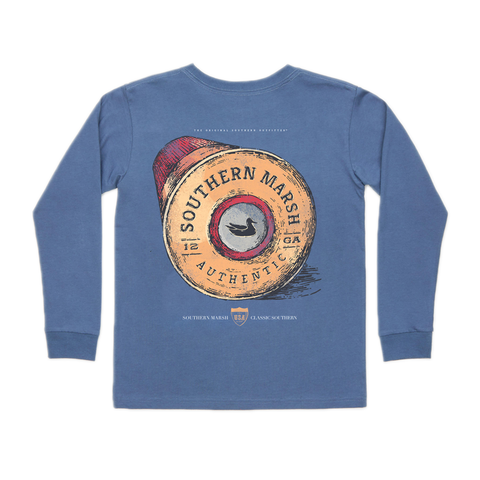 Boys Southern Marsh Youth Shot Gun Shell Long Sleeve Tee in Bluestone - Brother's on the Boulevard