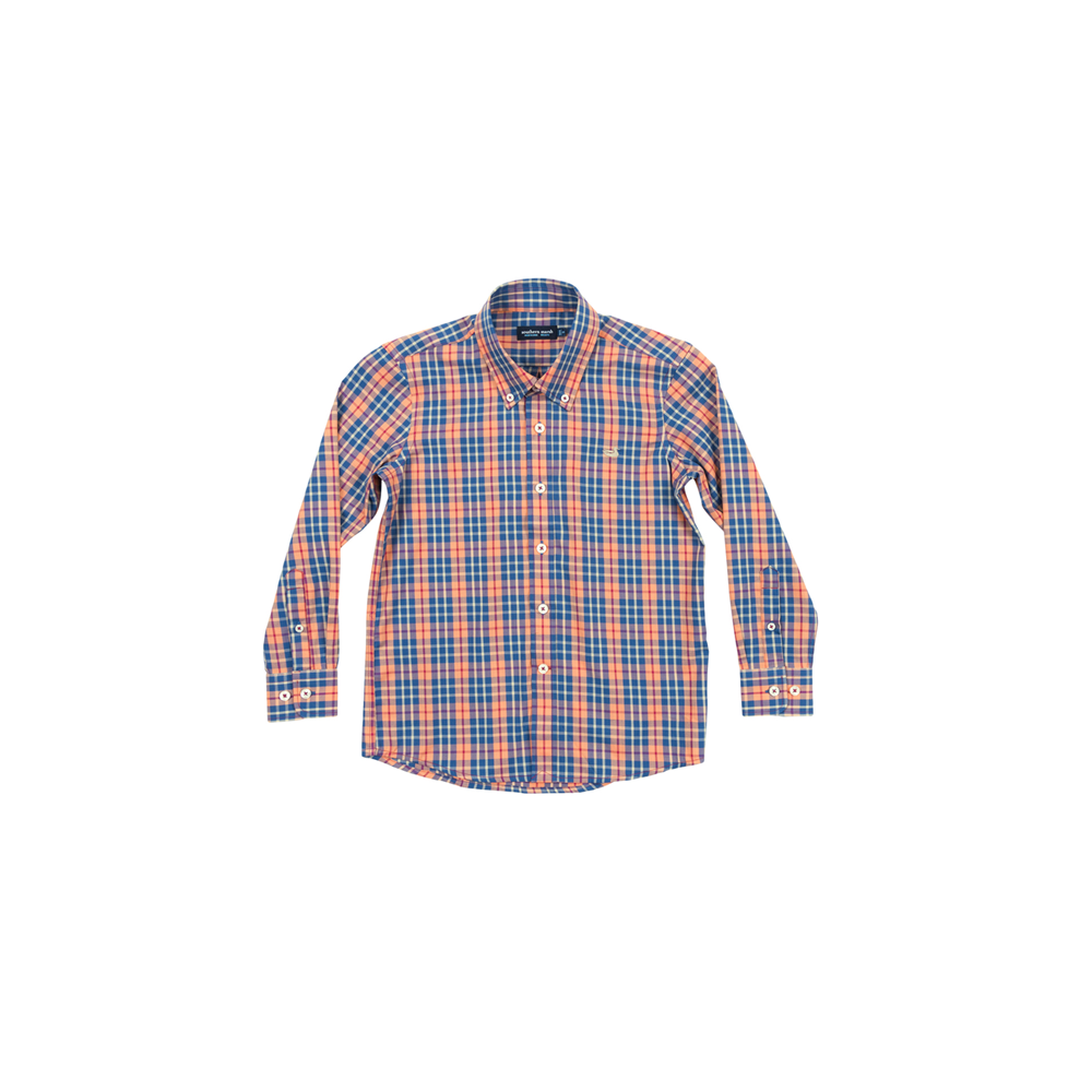 Southern Marsh Youth King Windowpane Dress Shirt in  Navy and Bisque