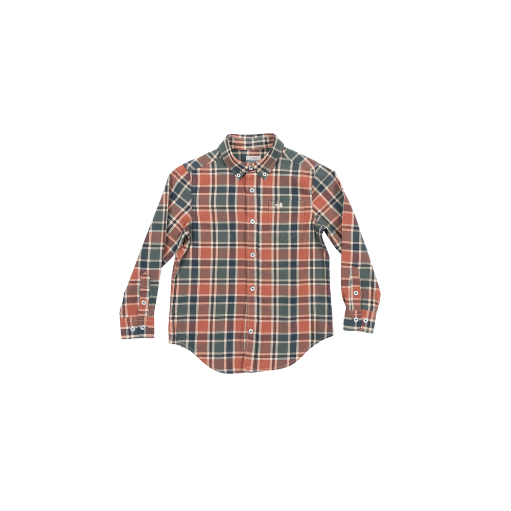 Boys Southern Marsh Youth Ocoee Washed Plaid Button Down in Brown and Green - Brother's on the Boulevard
