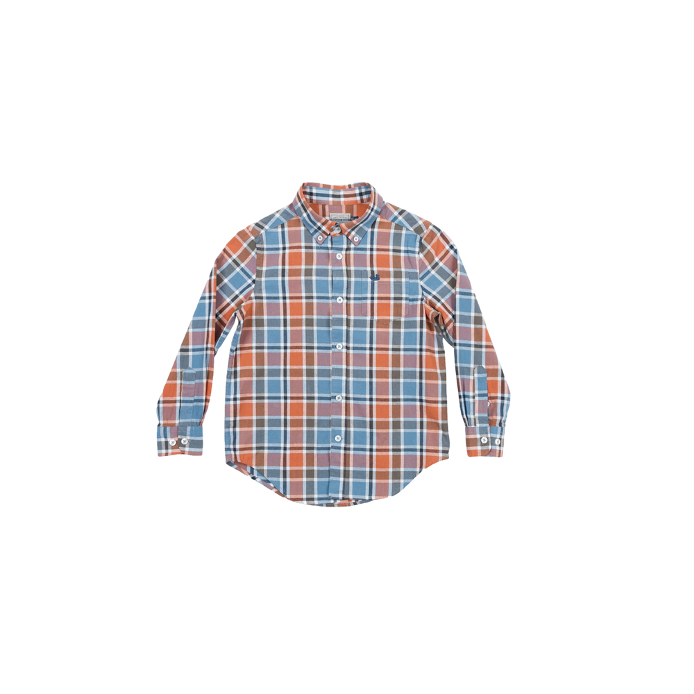 Southern Marsh Youth Ocoee Washed Plaid Button Down in Slate and Bisque