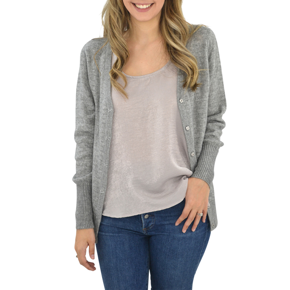 Michael Stars Four Way Wear Reversible Cardigan in Heather Grey