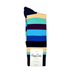 Happy Socks Stripe Print in Navy, Cream, and Aqua