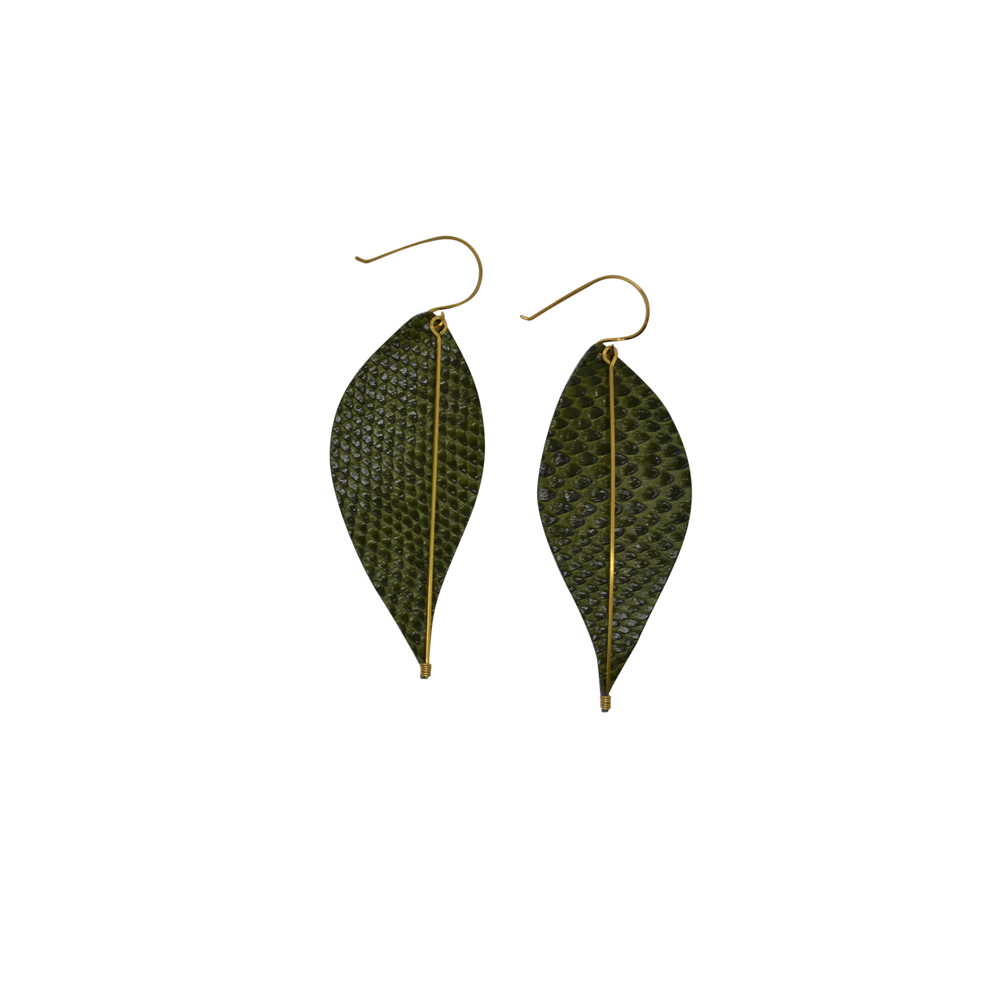 Womens Sarah Briggs Safari Leather & Wire Wrapped Leaf Earring - Brother's on the Boulevard