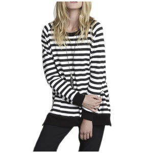 Womens Red 23 Oversized Striped Side Zip Pullover - Brother's on the Boulevard