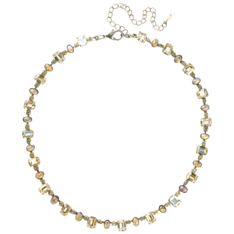 Sorrelli Crystal Octagon and Semi-Precious Oval Line Necklace in Lemonade (Antique Silver-Tone finish)