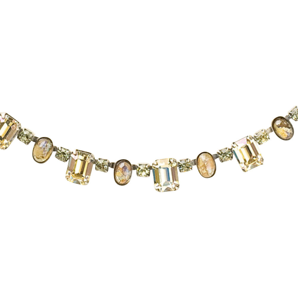 Sorrelli Crystal Octagon and Semi-Precious Oval Line Necklace in Lemonade