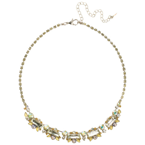 Sorrelli Crystal Baguette and Semi-Precious Cluster Line Necklace in Classic Necklace in Lemonade (Antique Silver-Tone finish)